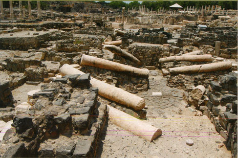 Excavations in the Roman city revealed fallen colonnades, associated with the destruction of the city in the 749 CE earthquake.