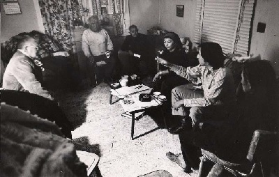 John Echohawk (with hand extended) with tribal leaders at the Black Mesa Meeting in 1972.