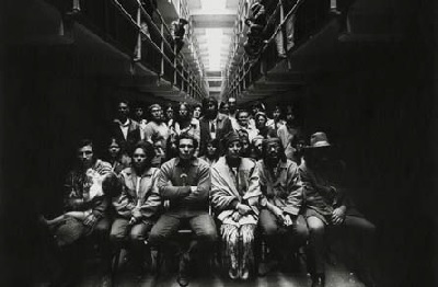 In one of the most dramatic demonstrations of the Red Power Movement, a group of Native American activists calling themselves the Indians of All Tribes occupied Alcatraz Island, the abandoned site of a former federal penitentiary in San Francisco Bay, from November 1969 to June 1971. Here, a group of protesters pose for a photograph in a cellblock in November 1969. © Art Kane, courtesy Art Kane Archive, all rights reserved.