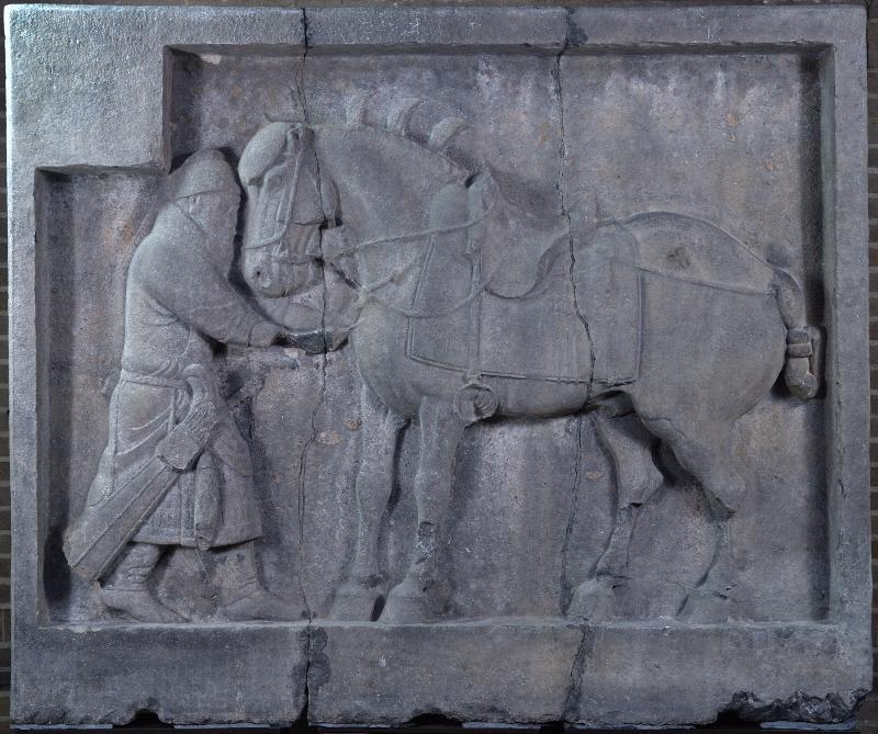 One of the Penn Museum's two horse reliefs: Sa Lu Zi from Zhaoling, Shaanxi province, Tang period (ca.AD 636–49), stone, height 169 cm,length 206 cm, thickness 40 cm, Museum Object Number: C395