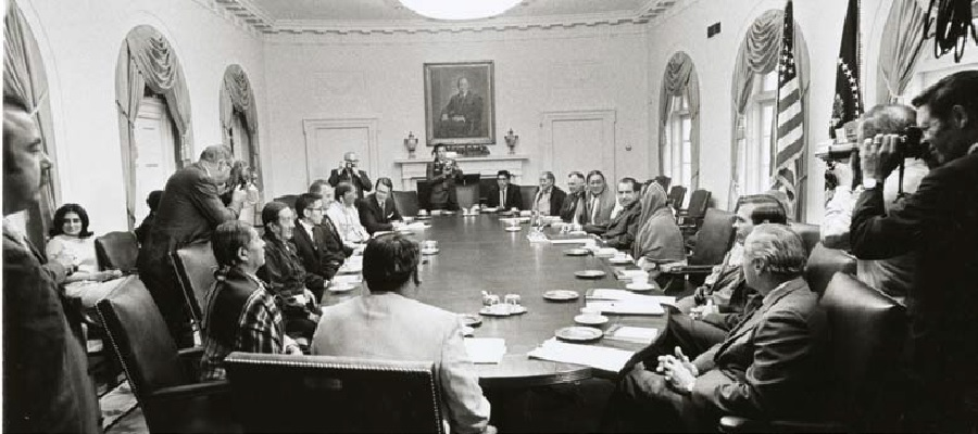 Representatives of Taos Pueblo meet with President Richard Nixon at the White House on July 8, 1970, as part of their successful campaign to regain title to Blue Lake, a sacred site that had been under the control of the U.S. Forest Service at Carson National Forest in New Mexico since 1906. Photo courtesy of the Richard Nixon Presidential Library and Museum, WHPO #3841-9.