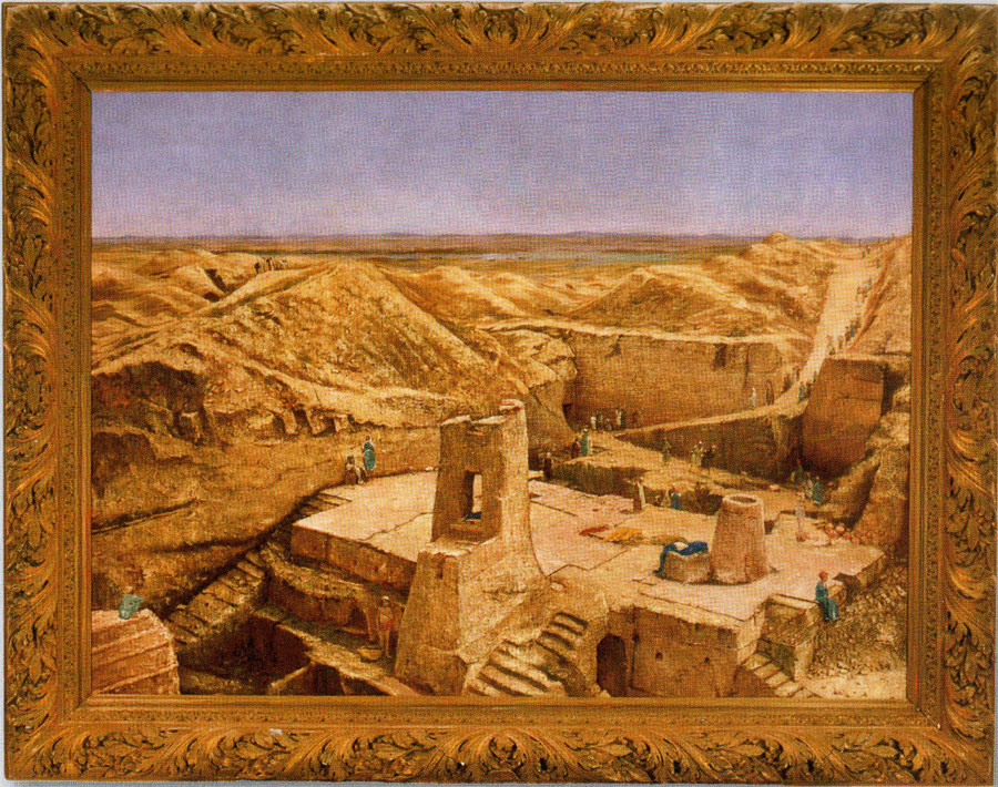 The painting of the Nippur excavations by Osman Hamdi Bey was inspired by a photograph by John Henry Haynes.