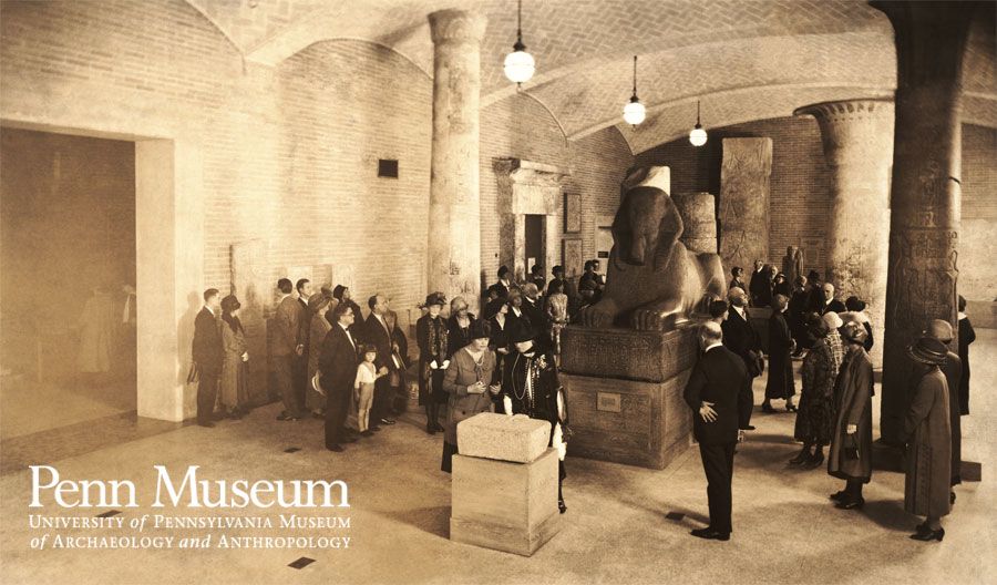 The Lower Hall of the Coxe Wing opened on May 19, 1926. The sphinx was originally placed outdoors at the Main Entrance, but was moved inside for fear the stone would crack in the winter.