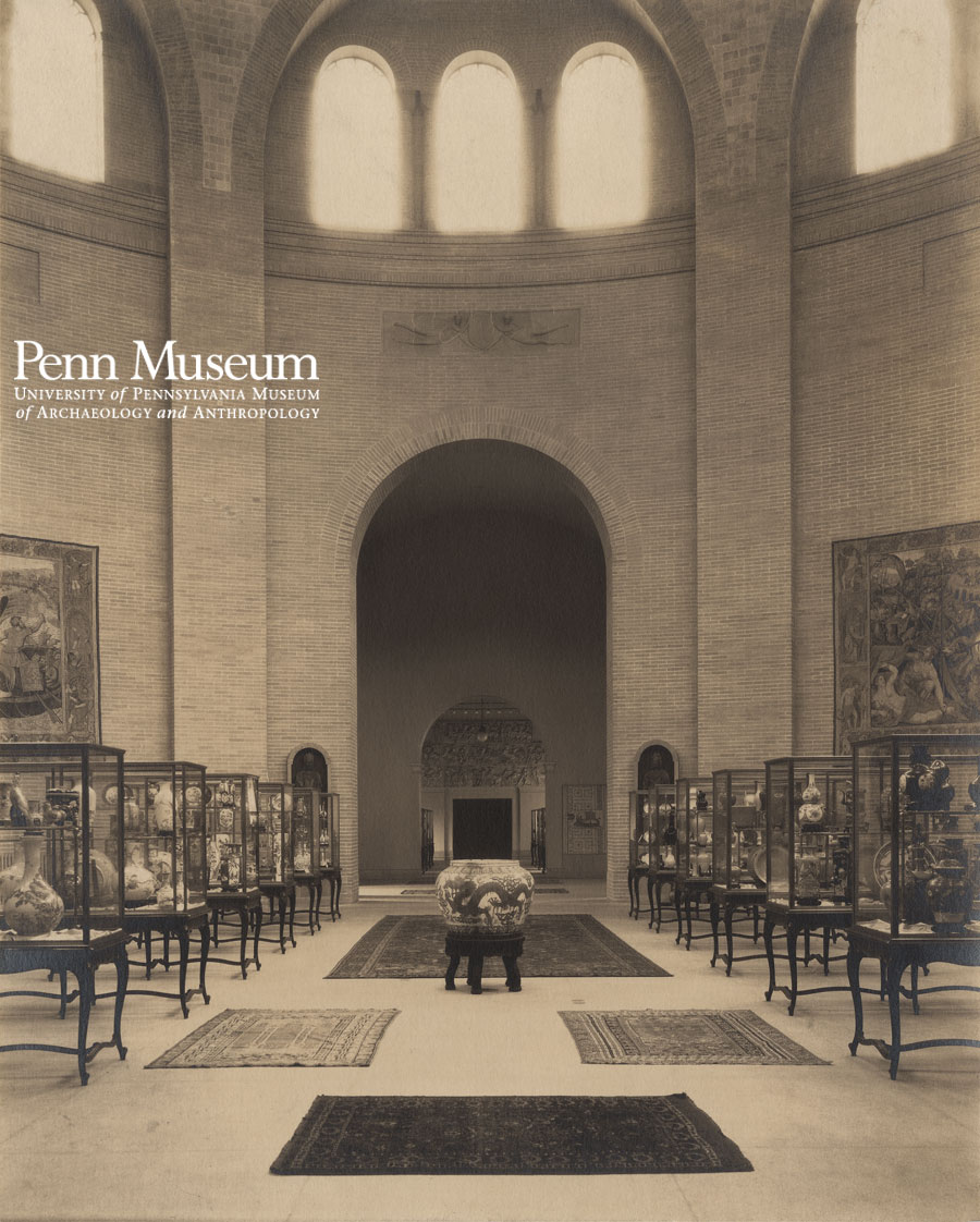 Charles Sheeler photographed the opening exhibition in the Harrison Rotunda in 1915, complete with Oriental porcelains, European tapestries, and Oriental rugs.