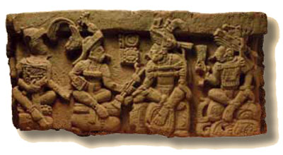 The west side of the altar is shown here with K'inich Yax K'uk' Mo' facing Copan's 16th king.