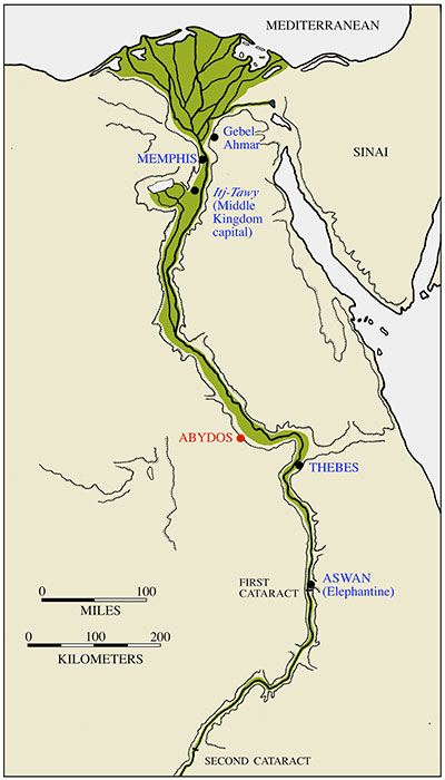 Abydos is located on the west side of the nile.