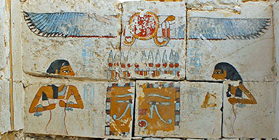 This detail of the burial chamber shows the goddesses Neith and Nut protecting the canopic shrine of Senebkay.