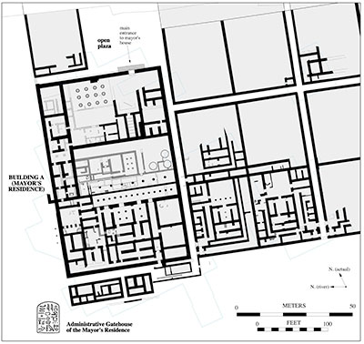 The mayor's residence (Building a) and adjacent buildings in the middle Kingdom town of Wah-sut have been excavated by the team from the Penn museum. The blue lines indicate the limits of excavation.