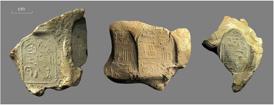 clay seal impressions represent the rst three mayors of the town of Wah-sut: nakht (left), nakht's son Khentykhety (center), and nakht's son neferher (right). These three men administered the town during the late 12th dynasty (ca. 1850–1800 Bce).