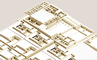 This isometric cut-away view shows the mayor's house at the southwest corner of the town. Blocks of smaller households (shown both in complete reconstruction and cut-away) extend to the east. it is not clear whether the main residence was single- or multi-storied (here shown as a simple at-roofed single story).