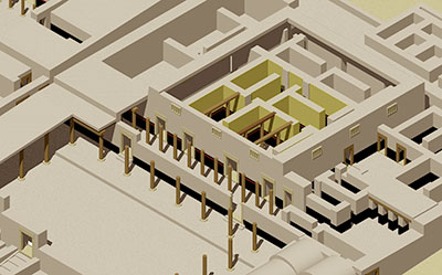 in the original design of the mayor's house, the central residence was fronted by a 15-columned broad hall and peristyle courtyard. many rooms had a black dado (lower wall) with the upper wall plastered white or yellow. remains of painted wall scenes occur in some areas.