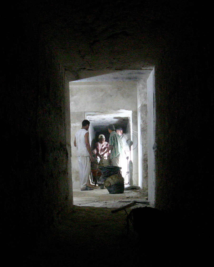 Excavations underway inside the first part of the tomb of Senwosret III during 2010.