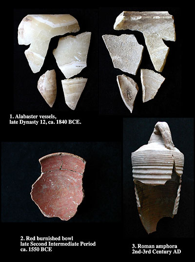 Objects from the interior of the Senwosret III tomb include alabaster vessels from the original 12th dynasty funerary furnishings (top) as well as pottery from the phases of tomb robbery during the second intermediate Period (lower left) and roman Period (lower right).