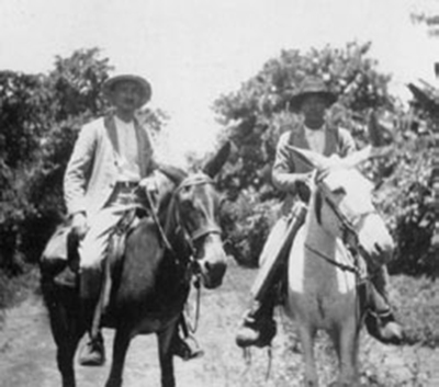 Franz Termer (left) and S. Andres Osuna are photographed on horseback in Guatemala in July 1928. Termer's student, Wolfgang Haberland, remembers his professor as a tireless scientist and field researcher, who preferred to go on his field excursions on horseback, on a mule, or on foot. © Museum für Völkerkunde, Hamburg