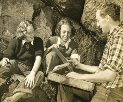 Butler (center), shown here with student workers Martha Lee Getty and Richard May. Butler directed the Hudson Valley Archaeological survey for Vassar College in 1939–1940. This photograph was taken by the famous photo-journalist Margaret Bourke-White. UPM image #238641 Photo © Estate of Margaret Bourke-White/Licensed by VAGA, New York, NY.