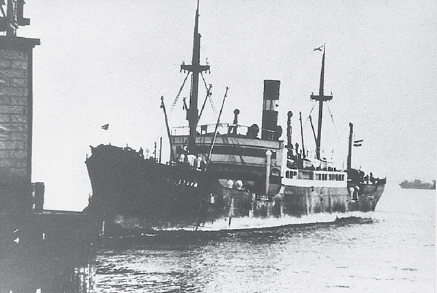 The sphinx was transported on the freighter D/S Schildturm (ca. 1915). Maritime insurance was purchased for the sphinx for its voyage from Suez to Philadelphia.