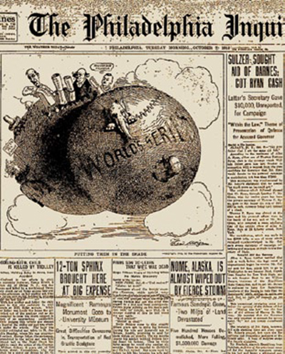 The sphinx shares the front page of The Philadelphia Inquirer with the opening game of the World Series, October 7, 1913.