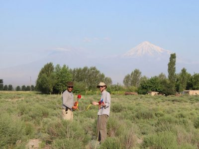 LEFT: Kyle Olson (left) and Bret Langendorfer surveying in the shadow of Mt. Ararat. RIGHT: The surveyor's toolkit. PHOTOS BY KYLE OLSON