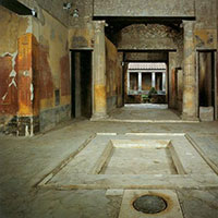 masks were normally stored in Roman atriums, such as this atrium from the House of Meander at Pompeii (www.studyblue.com)