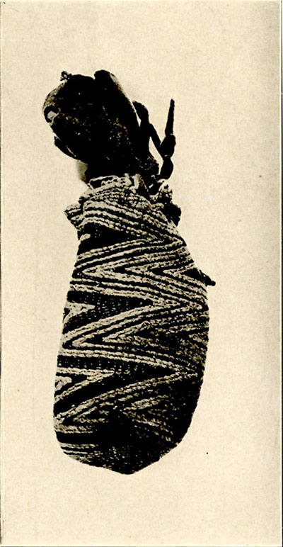 Fig.33-Old Medicine Pouch of Woven Indian hemp containing flakes of mica, said to be scales of horned water serpent and used for rain making. - Heye Collection
