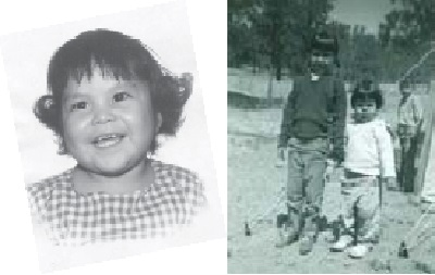 Patty Talahongva at age 2, and with her sister Berni. In the early 1960s, her parents moved to Denver from the reservation so that her father could find employment.