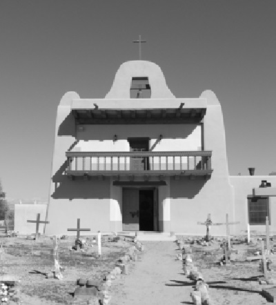 The Mission Church at the author's home community of San Ildefonso Pueblo in 2005. Photo by Martin Aguilar