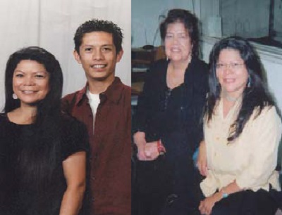 (Left): Talahongva and her son, Nick, live in the Phoenix metro area. Nick was raised to follow the Hopi religion. (Right):In 2006, she interviewed Wilma Mankiller, Chief of the Cherokee Nation.