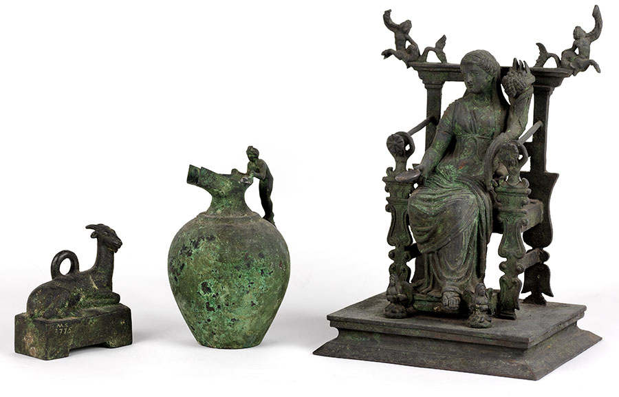 Weight in the shape of a goat, from Pompeii. Bronze reproduction, UPM object #MS 3775. Oinochoe with cast handle, from Pompeii. Bronze reproduction, UPM object #MS 3746. Statue of Fortuna, from Pompeii. Bronze reproduction, UPM object #MS 3683.