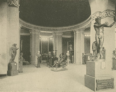 The interior of the Royal Italian Pavilion, St. Louis World's Fair. This view shows the other decoration inside: a copy of the 6th century BCE Greek vase called the François Vase from the Florence Museum, portraits of the Italian royal family, and copies of marble busts of Roman emperors (also produced by Chiurazzi). From Louisiana and the Fair: An Exposition of the World, Its People, and Their Achievements. ed. J. W. Buel. St. Louis 1904–1905; v. 6, after p. 2126.