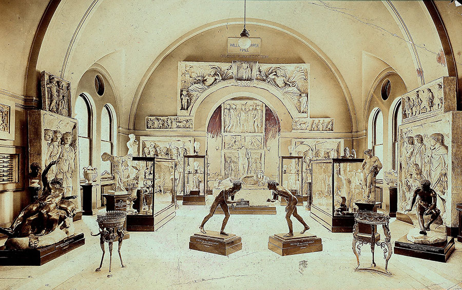 "View of the ""Graeco- Roman Section"" in Pepper Hall with the Wanamaker bronzes, Penn Museum, ca. 1905. Photo courtesy University of Pennsylvania Archives."