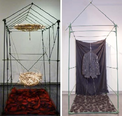 (Left): Mom's House (2010). 10' x 4' x 8', red felt, weaved umbrella, reed, horsehair, plant stakes. Solo Exhibition, Smithsonian Museum, New York City, New York. (Right):Dad's House (2010). 4' x 10' x 8', curtains, jacket, horsehair, and plant stakes.
