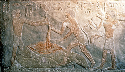 This relief, on view in the first floor Egyptian Gallery, records a butchery scene.