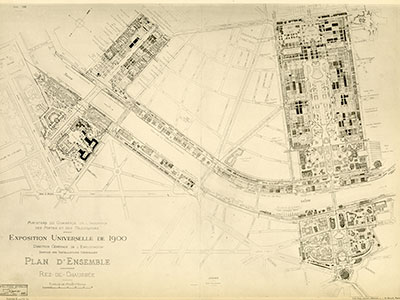 Map of the Paris 1900 Exposition. The area around the Trocadero Palace is outlined in red.