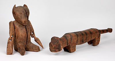 The Nivkhi wooden tiger and bear may relate to the belief system of these cultural groups. UPM object #2003-43-281, 2003-43-282.