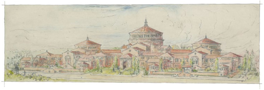 "Revised Sketch of the University Museum, University of Pennsylvania"" by Wilson Eyre, 1911. The Harrison Rotunda is on the right. UPM image #253515"
