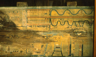 "a private (non-royal) coffin from el-Bersheh illustrates the two ""Ways of Rosetjau,"" which the deceased must traverse in the afterlife."