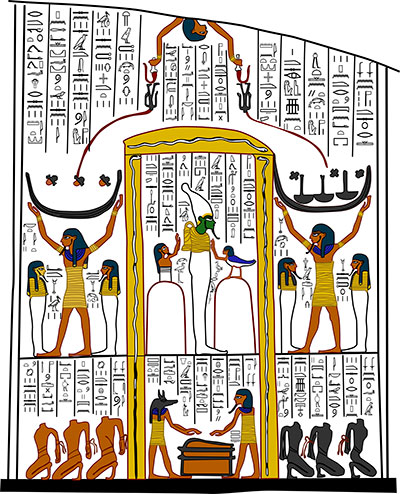 Book of the Earth, tomb of Ramesses VI: The Shrine of Osiris in the Place of Annihilation, where the Damned are inverted, decapitated, exsanguinated, incinerated, and consigned to darkness. Illustration by Joshua A. Roberson.