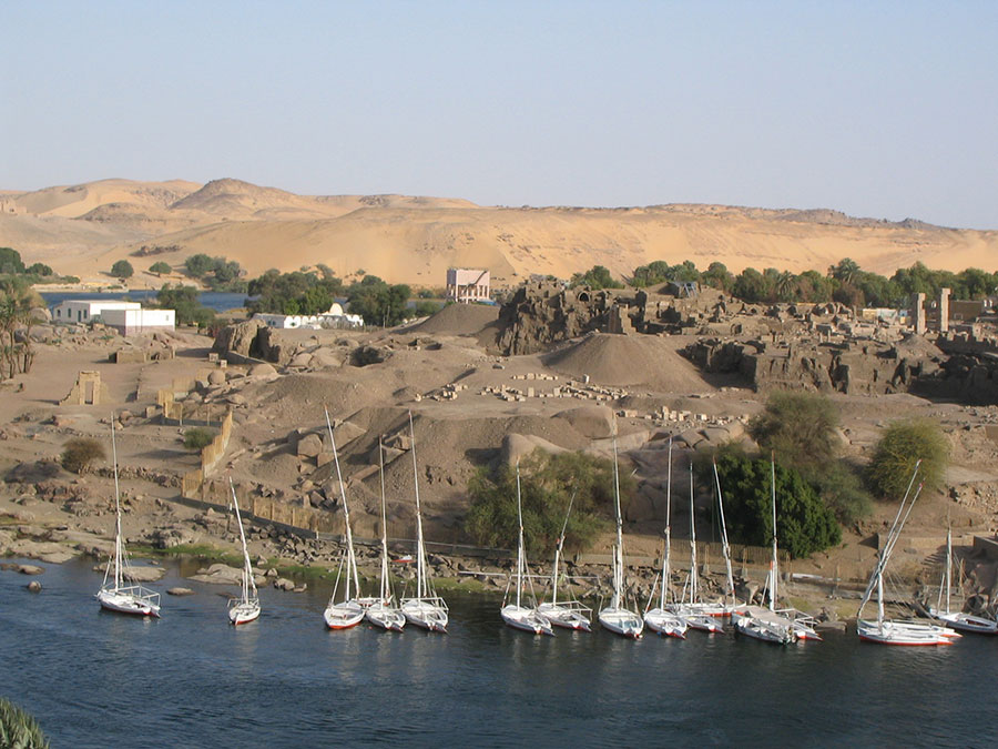 The settlement at Elephantine, viewed from the north, shows its ideal location for access to trade. Photo by Leslie Anne Warden.