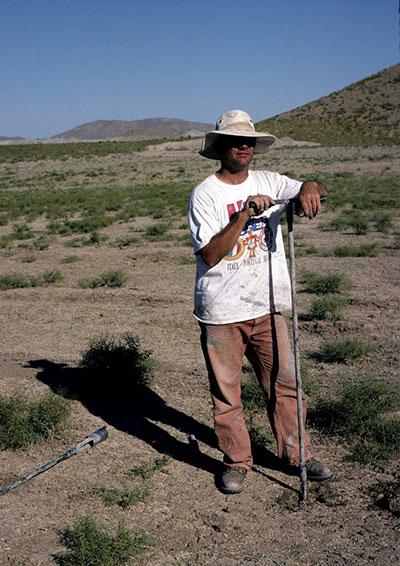 Ben Marsh samples sediment cores at Gordion.