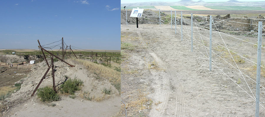 The old rusted fence (left) was replaced recently with a new fencing system and signage (right) along the visitor circuit. Photographs by Elisa Del Bono for the Architectural Conservation Laboratory at Penn.