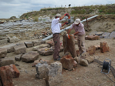 Blocks are treated during conservation. Photograph by Elisa Del Bono, 2015.