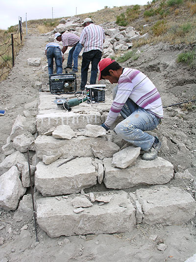 New stone steps were built at the Gordion Citadel visitor circuit in 2013. Photograph by Elisa Del Bono for the Architectural Conservation Laboratory at Penn.