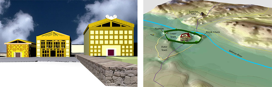 This 3-D reconstruction by Banu Bedel of the Early Phrygian Citadel depicts three megarons that existed at the time. RIGHT: The reconstruction by Ben Marsh shows Gordion's fortification system during the Middle Phrygian period (8th–6th century BCE).