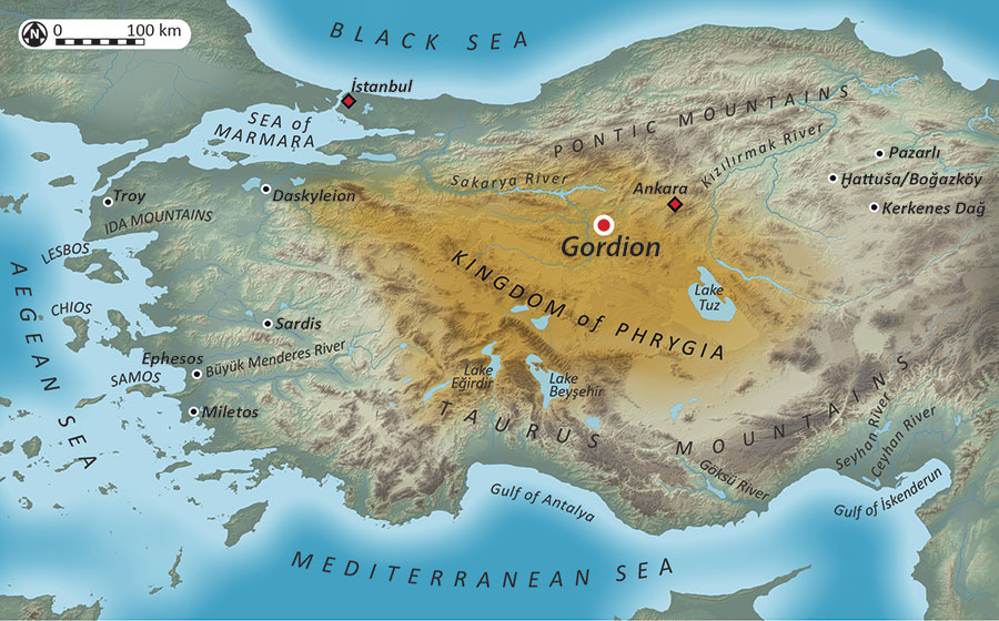 This map of Anatolia shows the area of Phrygian control in the Iron Age. Map by Gareth Darbyshire, Gabriel H. Pizzorno, and Ardeth Anderson.
