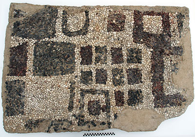 This section of the pebble mosaic floor from Megaron 2's main room was conserved in 2015, and will appear in the 2016 exhibition. Image #04663.