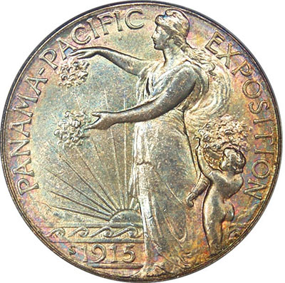 The Panama-Pacific International Exposition (1915) silver halfdollar included a figure of Columbia wearing a Phrygian-style cap.