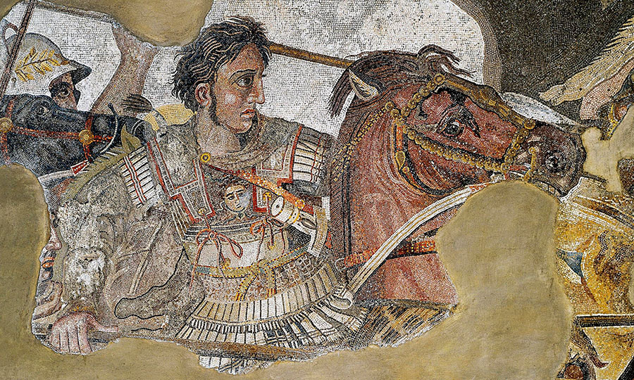 A detail from the Alexander mosaic, recovered from the House of the Faun at Pompeii, depicts Alexander and his horse, Bucephalus. From the Naples Archaeological Museum.