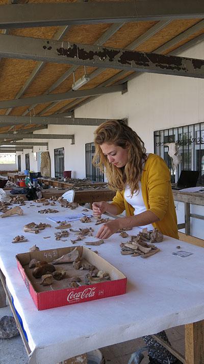 Janine van Noorden sorts animal bones.