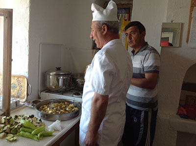 Our cook İbrahim prepares delicious meals made from local produce.