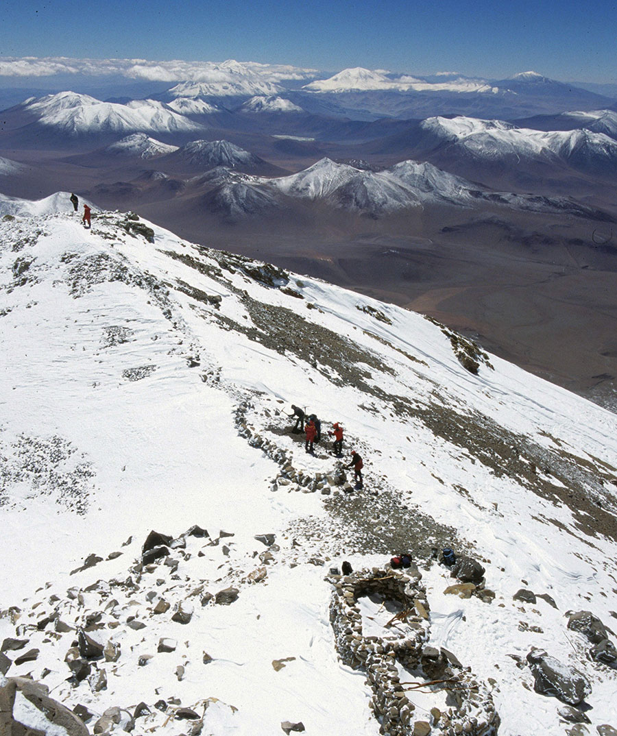 Photo of mountians with team members